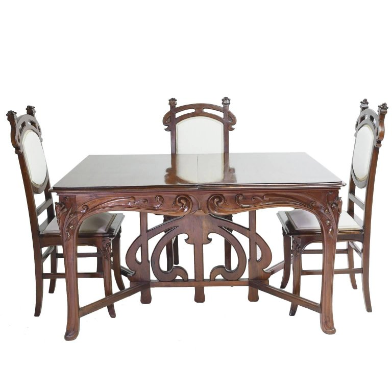 Cool Art Nouveau Dining Suite With Six Chairs And Extension Table Home Interior And Landscaping Staixmapetitesourisinfo