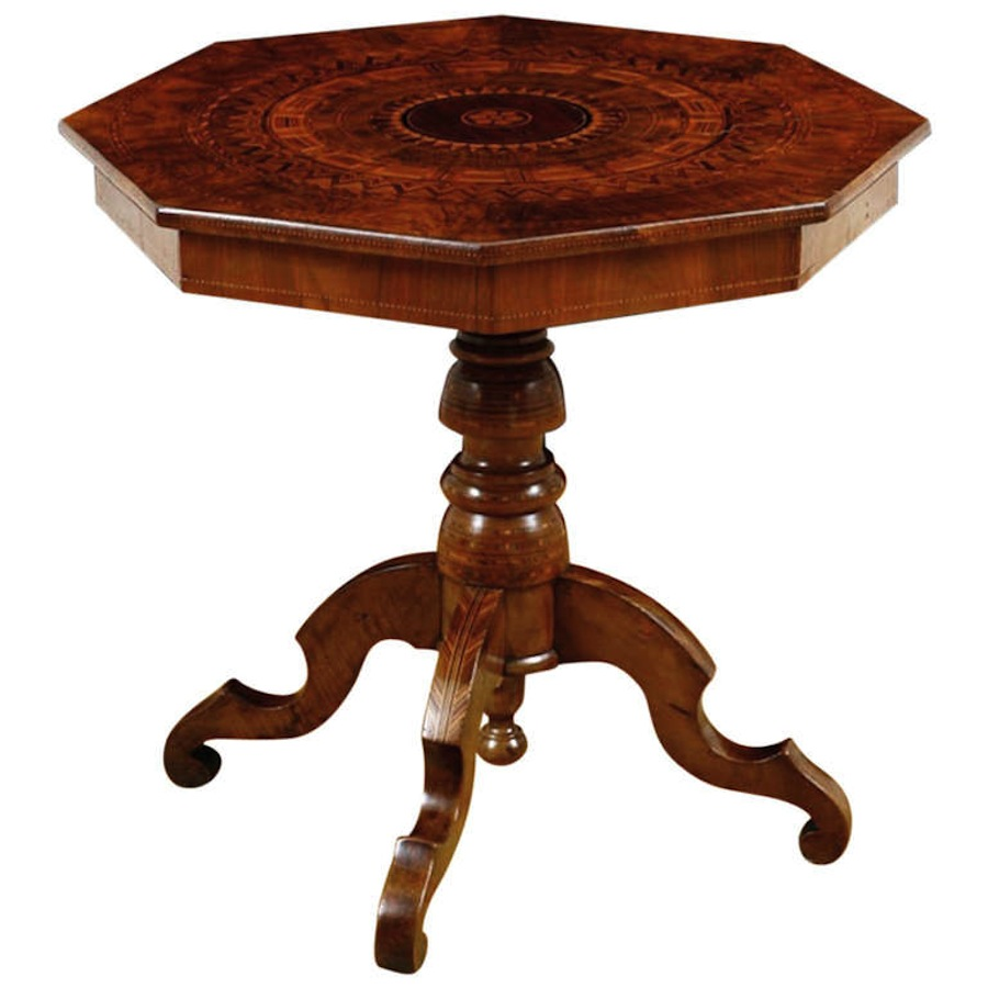 Italian side table in walnut inlaid with marquetry c for To the table