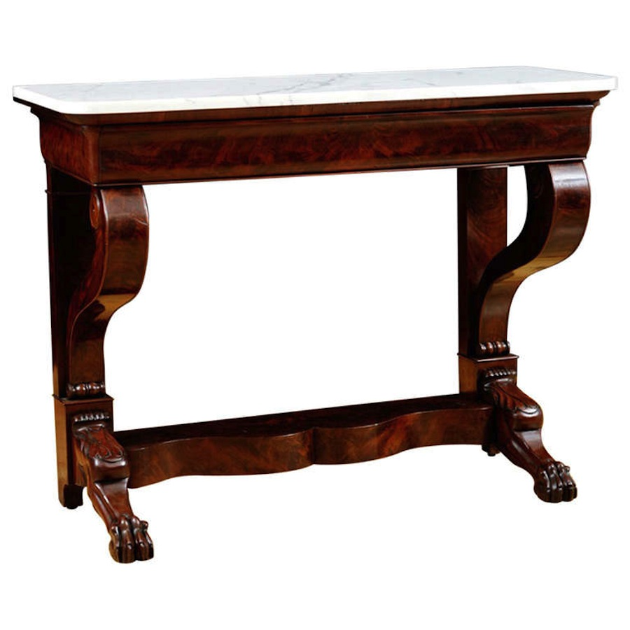 Antique French Console Table In Mahogany With White Marble C 1825