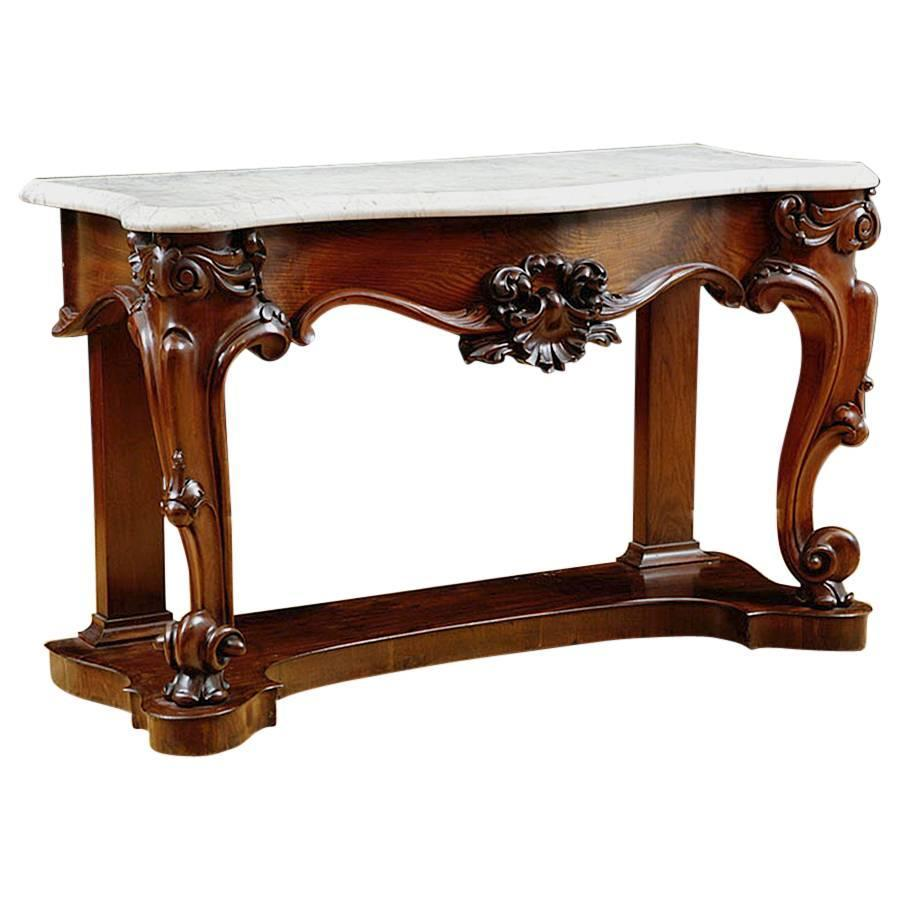 Antique American Console Table in Mahogany with White Marble Top c