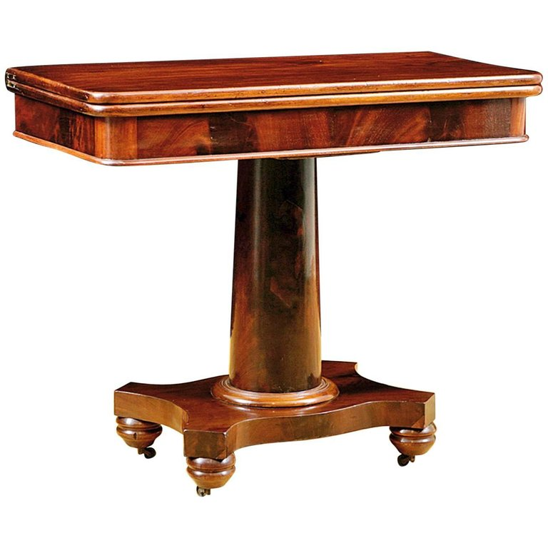 American Empire Game Table in Mahogany, c. 1835 - Antique American Empire Side Table In Mahogany, C. 1835 - Bonnin