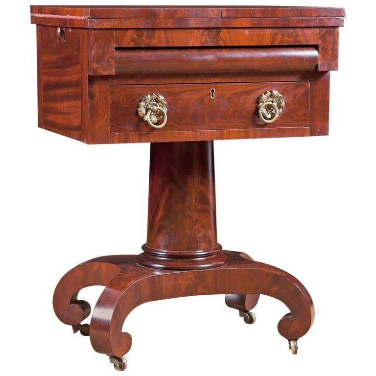 Gentil Philadelphia Empire Work Table In Mahogany, C. 1825