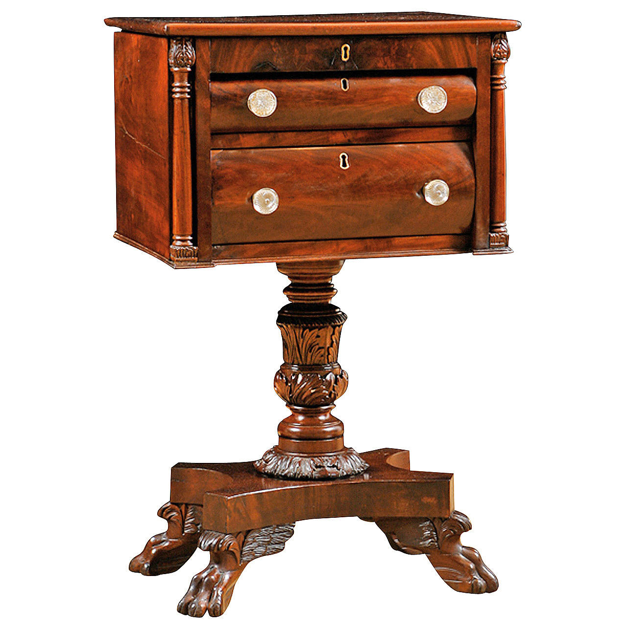 Antique American Empire Side Table In Mahogany Bonnin