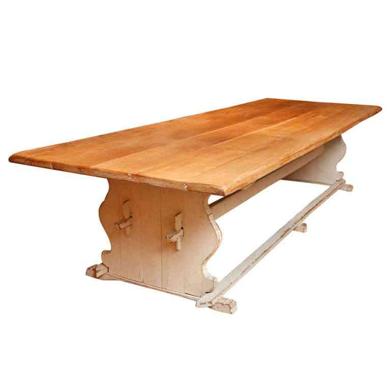 Long Gustavian Style Farm House Dining Table With Trestle Base - Farm table trestle base