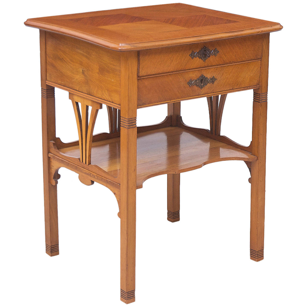 Jugendstil Side Table In Walnut And Walnut Parquetry Bonnin Ashley Antiques Miami Fl