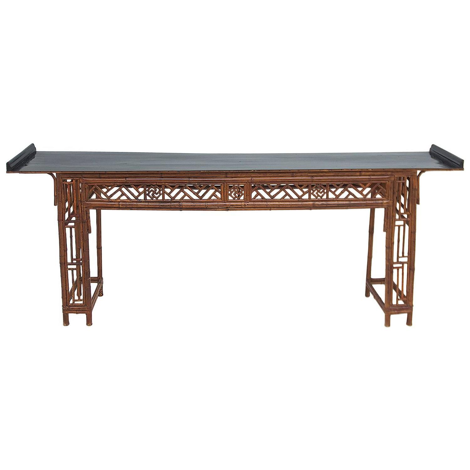 Long Antique Chinese Bamboo Altar Table with Black Lacquer Top