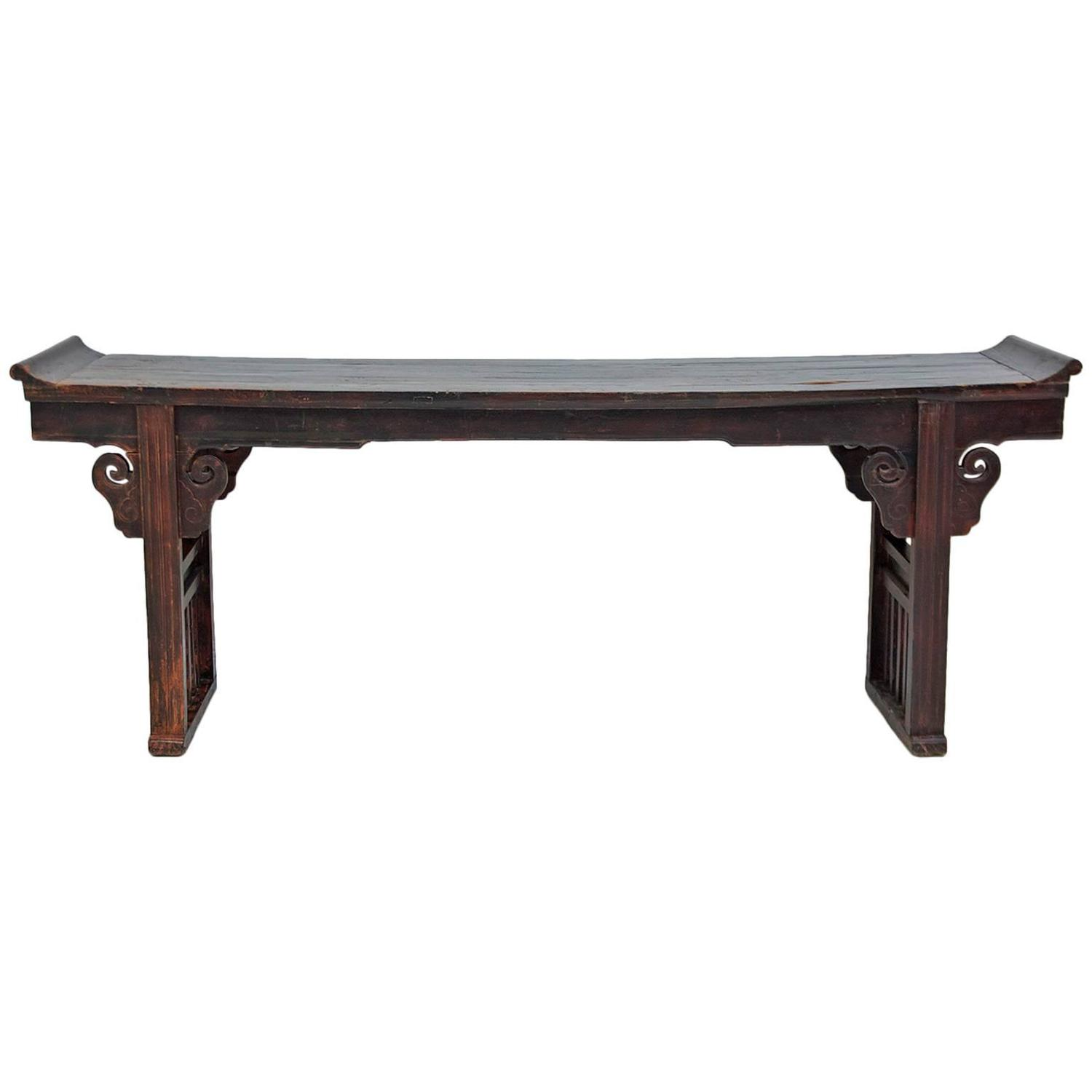Early 19th Century Chinese Ming Form Altar Table in Elm Wood