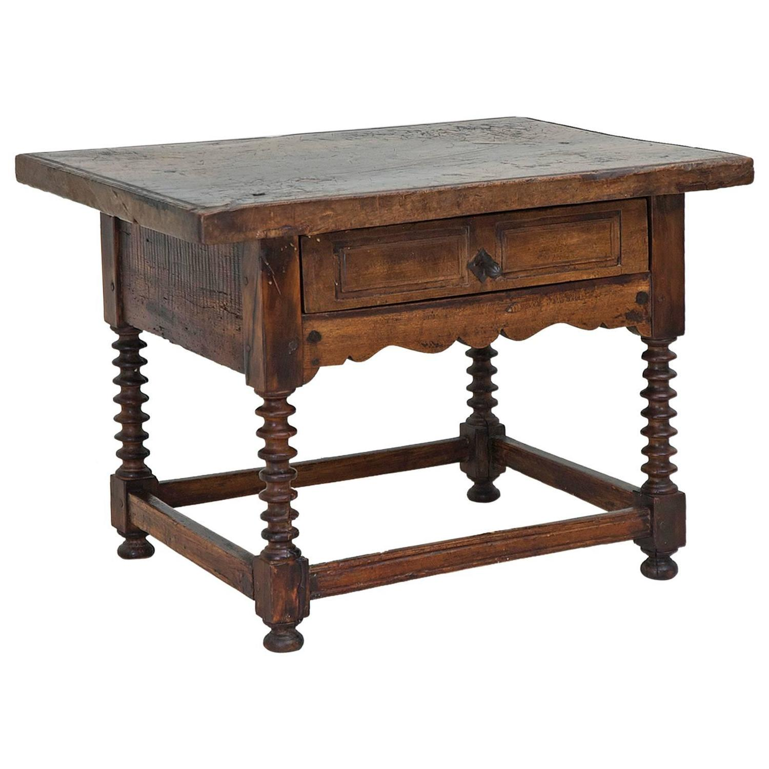 Antique Rustic Spanish Shoemaker s Table in Walnut Bonnin Ashley