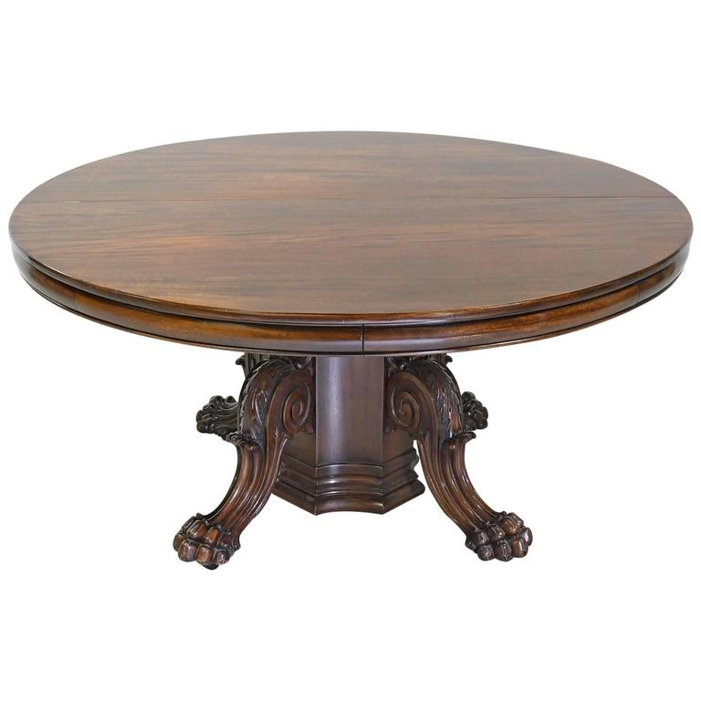 Round American Empire Center Pedestal Dining Table With Extension Leaves