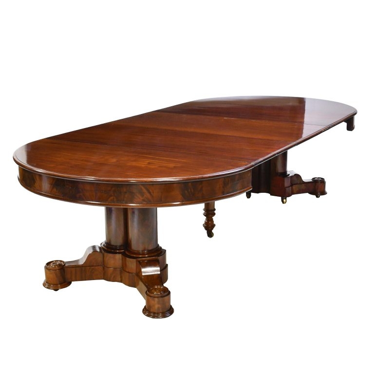 American Empire Extension Dining Table In Mahogany With Pedestal Base Antique Furniture Vintage Antiques For Sale In Miami Fl Bonnin Ashley Antiques