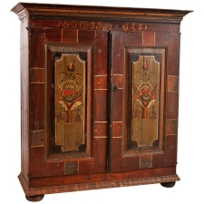 Early 19th Century Scandinavian Painted Armoire, Painting Dated 1836