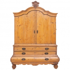 18th Century Pine Bombe Linen Press from Holland