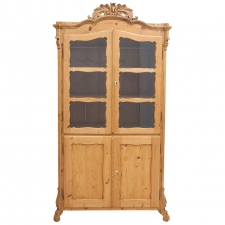 19th Century Louis Philippe Pine Vitrine /Glass Cupboard