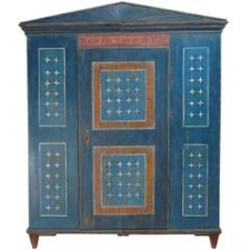 Dower or Marriage Armoire in Original Blue Paint with White Daisies, Dated 1831