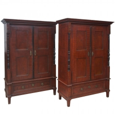 Pair of 19th Century Austrian Armoires with Painted Faux-Bois Finish