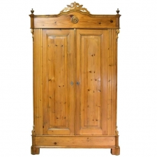 Louis Philippe Armoire in Pine with Carved Bonnet, Germany, circa 1850