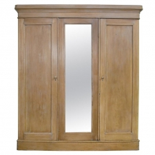 English Edwardian Wardrobe in Limed Pine with Mirrored Door and Interior Drawers