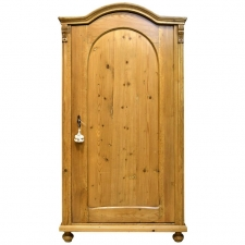 Austrian Armoire in Pine with Single Door and Arched Top, circa 1830