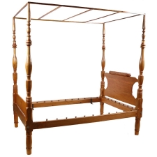 American Sheraton Four-Poster Bed in Pine and Poplar, c. 1815