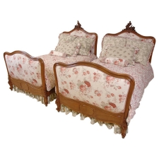 French Belle Époque Walnut Beds c. 1880 upholstered in Jacquard and Tulle