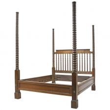 19th Century Queen Size British Colonial Style Four-Poster Bed