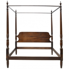 King Size 4-Poster Sheraton Bed with Carved Posts, Phyfe School, c. 1815