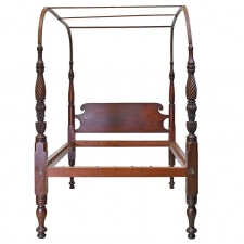 "American Four Poster ""Field"" Bed w/ Arched Canopy, Carved & Turned Posts, c 1815"