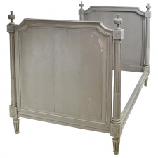 Louis XVI Style Bed in Original Gray/Green Paint, circa 1890