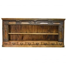 20th Century Long Open Asian Bookcase in Teak with Carved Foliage and Flowers