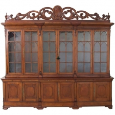 Large French Breakfront Bookcase / Bibliotheque with Mullioned Glass Panels