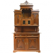 Art Nouveau Buffet Cupboard or Bar Cabinet in Walnut, France, circa 1890