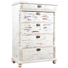 Antique Swedish Tall Chest of Drawers in Pine, with newly distressed paint, c. late 1800's