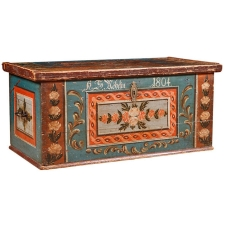 Pine Bridal Chest with Original Paint, Austria, dated 1804