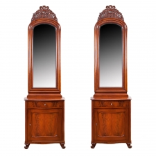 Pair of Antique Serpentine-Front Cabinets with Mirrors, Northern Europe, c. 1850