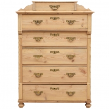 Tall Swedish Chest in Pine with Six Drawers, circa 1870