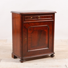 Antique Louis Philippe Single Door Cupboard with Drawer in Mahogany, Northern Europe, c.1865