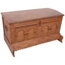 Carved Oak Marriage or Dowry Chest, dated 1735