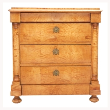 Small Biedermeier Commode or Chest with Five Drawers in Birch