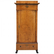 Antique Swedish Empire Pedestal Cabinet in Polished Birch, circa 1810