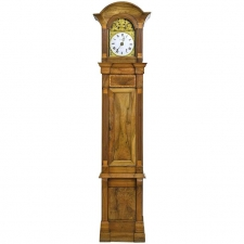 Tall French Louis XVI Long Case Clock with Walnut Case & Brass & Enamel Dial, circa 1790