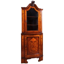 Dutch Corner Cabinet in Mahogany with Satinwood Marquetry, c. 1800