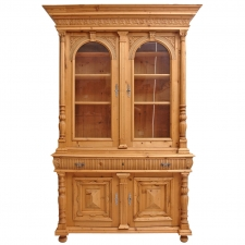 Large Pine Belle Époque Bookcase or Cupboard from Bohemia