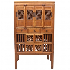 19th Century Chinese Food Safe in Elm Wood