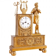 French Empire Mantle Clock in Bronze Doré, c. 1800