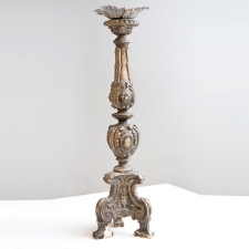 Antique Italian Carved Wood and Gesso Candlestick