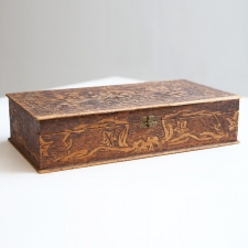 Carved Flemish Art Box with Vines and Foliage, stamped 681 NY