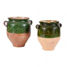 Pair of French Antique Confit Pots in Green Glaze