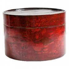 19th Century Round Chinese Box in Cinnabar Lacquered Wood with Still Life Paintings