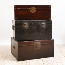 Set of 19th Century Chinese Leather Traveling Trunks
