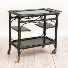 French Vintage Tea Cart in Dark Green Rattan